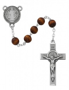Brown Round St. Benedict Rosary [MVRB1195]