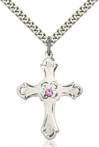 Budded Cross Pendant with Etched Border Birthstone Options [BLST60372]