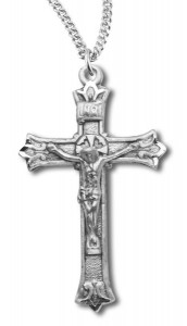 Budded Crucifix Pendant Sterling Silver [RECRX1002]