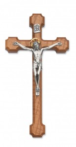 "Budded Walnut Wood Crucifix with Two Tone Corpus - 10""H [MVCR1030]"
