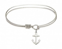 Cable Bangle Bracelet with a Anchor Charm [BRC4158A]