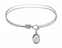 Cable Bangle Bracelet with a Blessed Trinity Charm [BRC9249]