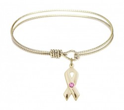 Cable Bangle Bracelet with a Cancer Awareness Charm [BRST021]