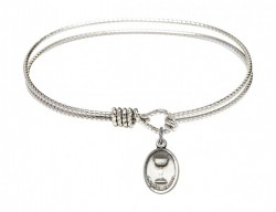 Cable Bangle Bracelet with an Oval Chalice Charm [BRC0976]