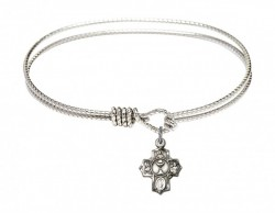 Cable Bangle Bracelet with a Communion 5-Way Charm [BRC0890]