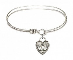 Cable Bangle Bracelet with a Confirmation Dove Heart Charm [BRC3405]
