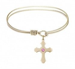 Cable Bangle Bracelet with a Cross Charm [BRST025]