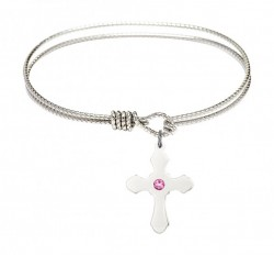 Cable Bangle Bracelet with a Cross Charm [BRST026]
