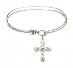 Cable Bangle Bracelet with a Cross Charm [BRST028]