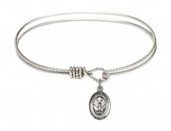 Cable Bangle Bracelet with a Cross Dove Confirmation Charm [BRC0973]