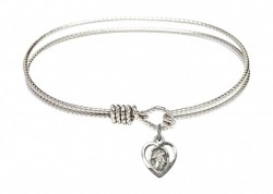 Cable Bangle Bracelet with a Guardian Angel Charm [BRC5407]