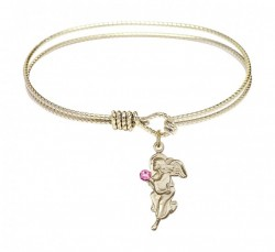 Cable Bangle Bracelet with a Guardian Angel Charm [BRST015]