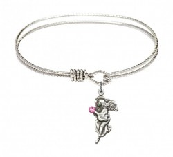 Cable Bangle Bracelet with a Guardian Angel Charm [BRST016]