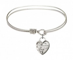 Cable Bangle Bracelet with a Guardian Angel Heart Charm [BRC3402]