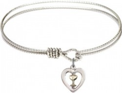 Cable Bangle Bracelet with a Heart with Chalice Charm [BRC3148]