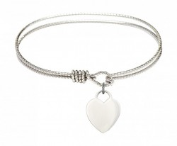 Cable Bangle Bracelet with a Heart Charm [BRC3400]