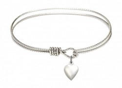 Cable Bangle Bracelet with a Heart Charm [BRC4158H]