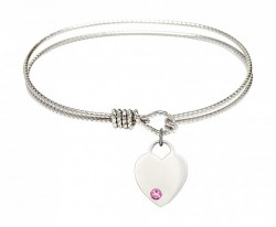 Cable Bangle Bracelet with a Heart Charm [BRST008]