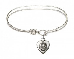 Cable Bangle Bracelet with a Heart Communion Charm [BRC0892]