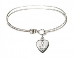 Cable Bangle Bracelet with a Heart Confirmation Charm [BRC0891]