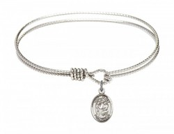 Cable Bangle Bracelet with a Holy Family Charm [BRC9218]