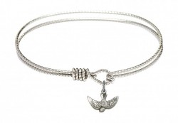 Cable Bangle Bracelet with a Holy Spirit Charm [BRC5911]