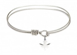 Cable Bangle Bracelet with a Holy Spirit Dove Charm [BRC0225]