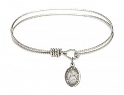 Cable Bangle Bracelet with a Immaculate Heart of Mary Charm [BRC9337]