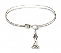 Cable Bangle Bracelet with a Lighthouse Charm [BRC5922]