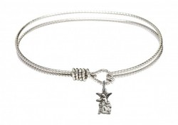 Cable Bangle Bracelet with a Littlest Angel Charm [BRC4254]