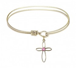 Cable Bangle Bracelet with a Loop Cross Charm [BRST005]