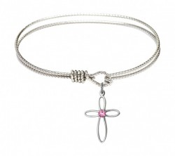 Cable Bangle Bracelet with a Loop Cross Charm [BRST006]