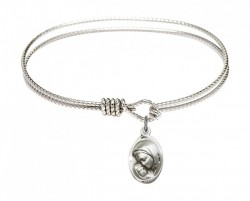 Cable Bangle Bracelet with a Madonna & Child Charm [BRC5447]