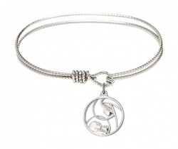 Cable Bangle Bracelet with a Madonna and Child Charm [BRC6225]