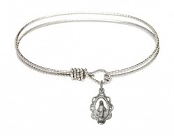 Cable Bangle Bracelet with a Miraculous Charm [BRC1610]