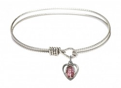 Cable Bangle Bracelet with a Miraculous Charm [BRC5401EP]