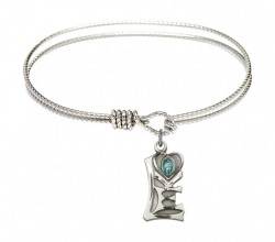 Cable Bangle Bracelet with a Miraculous Charm [BRC5901]