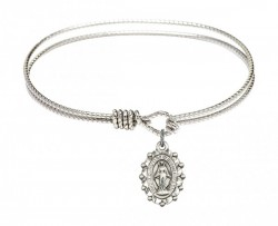 Cable Bangle Bracelet with a Miraculous Charm [BRC6040]