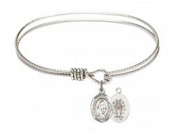 Cable Bangle Bracelet with a Miraculous Charm [BRC9078]