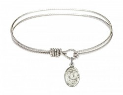 Cable Bangle Bracelet with a Miraculous Charm [BRC9682]