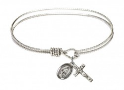 Cable Bangle Bracelet with a Miraculous and Crucifix Charm [BRC0702MSETS]