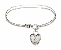 Cable Bangle Bracelet with a Miraculous Heart Charm [BRC3401]