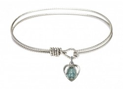 Cable Bangle Bracelet with a Miraculous Heart Charm [BRC5401E]