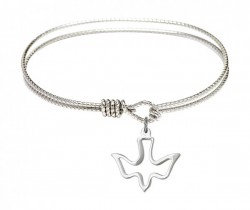 Cable Bangle Bracelet with an Open Cut Holy Spirit Charm [BRC1510]