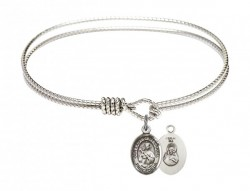 Cable Bangle Bracelet with Our Lady of Mount Carmel Charm [BRC9243]