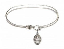 Cable Bangle Bracelet with Our Lady of Prompt Succor Charm [BRC9299]