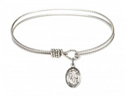 Cable Bangle Bracelet with Our Lady Star of the Sea Charm [BRC9101]
