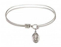 Cable Bangle Bracelet with an Oval Holy Spirit Charm [BRC9044]