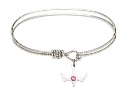 Cable Bangle Bracelet with a Petite Holy Spirit Charm and Birthstone [BRST024]