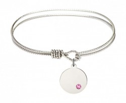 Cable Bangle Bracelet with a Plain Disc Charm [BRST030]